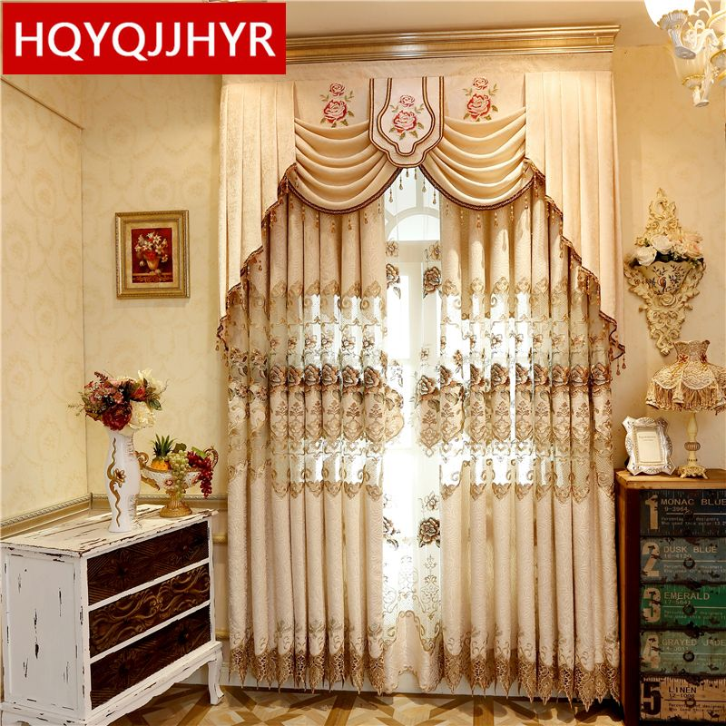 Rustic D Cor European And American Style Luxury Embroidery High Shade Curtains For Bedroom