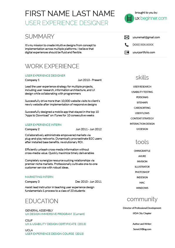 Superbe Complete Guide To UX Resumes + 3 Free Templates   UX Beginner