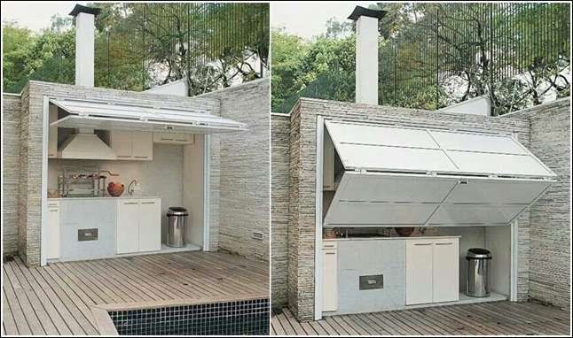 Southern Garage Door Shut Down An Outdoor Kitchen With A Garage