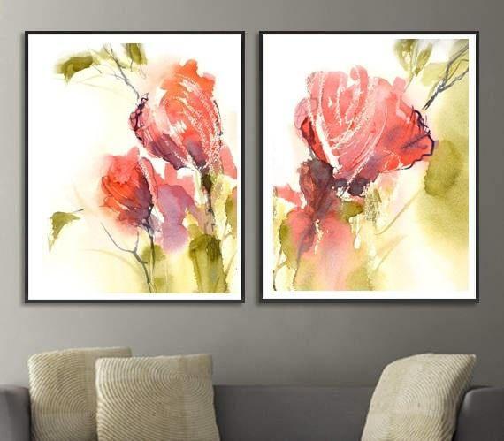 Wall Art Set of 2 Prints Set, Watercolor Set of Flower Paintings ...