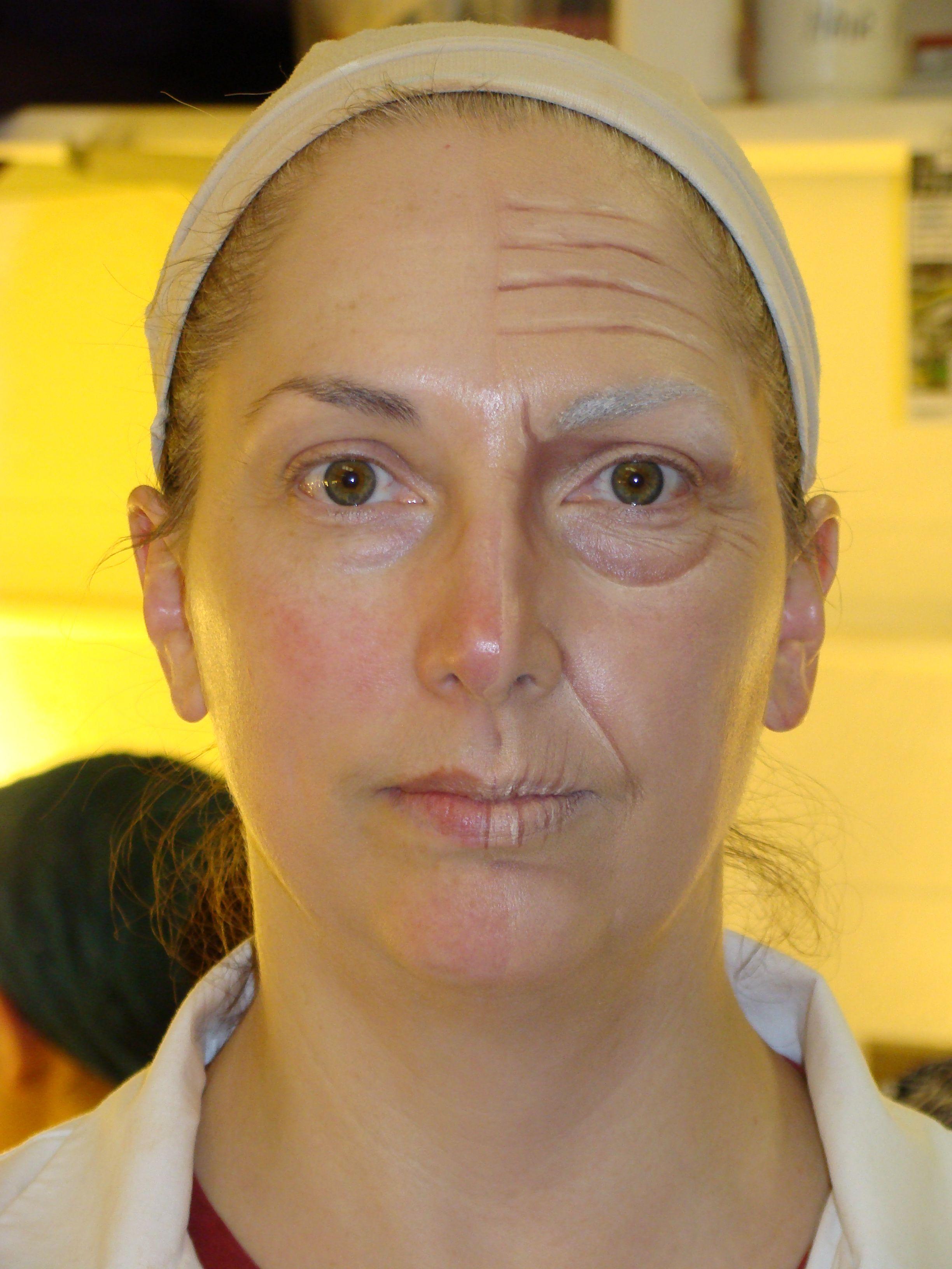 Aged makeup Old age makeup, Old lady makeup, Old makeup