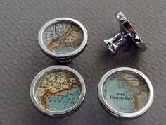 Image of Custom Atlas Vintage Map Drawer Pulls or Cabinet Knobs