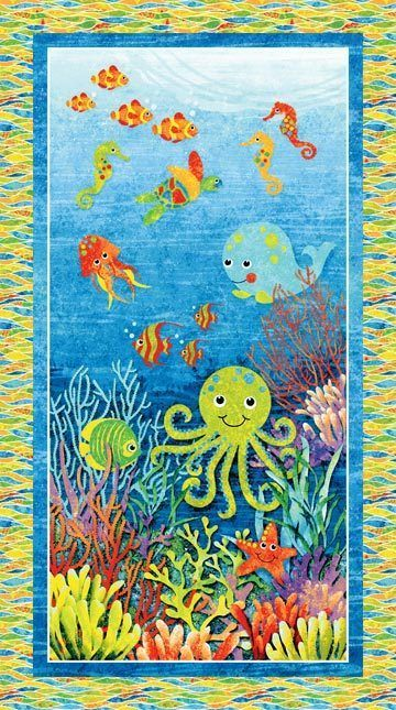 Children/'s Fish Crab Sea Turtle Whale Octopus Fabric Block Print By the Yard