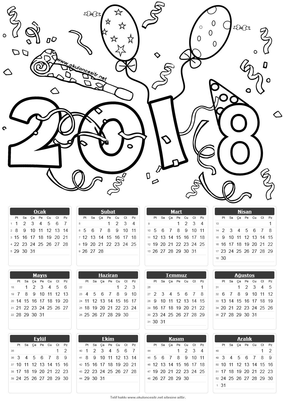 2018 Tek Sayfa Takvimleri özel Pinterest Okul Okul öncesi Ve