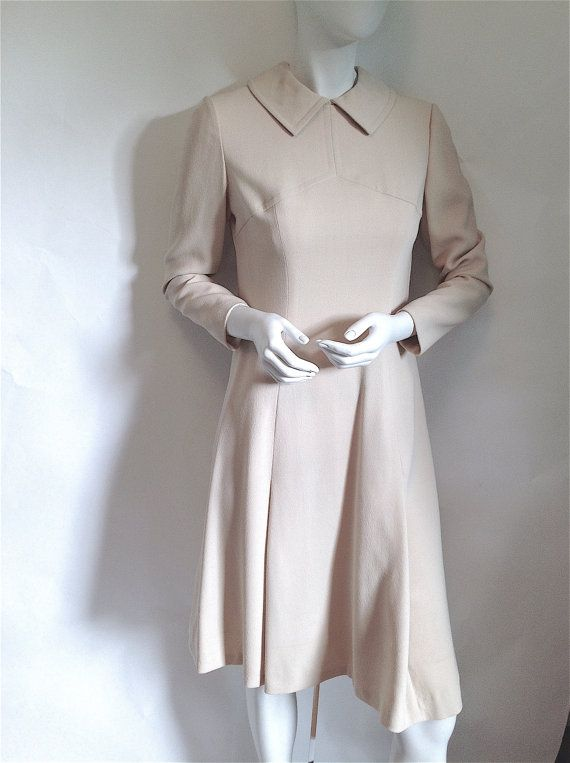 ADELE SIMPSON Wool Crepe MOD Dress - American Vintage Couture - Post Space Age & An Early Piece in Her Career - Late 1960's  Early 70's