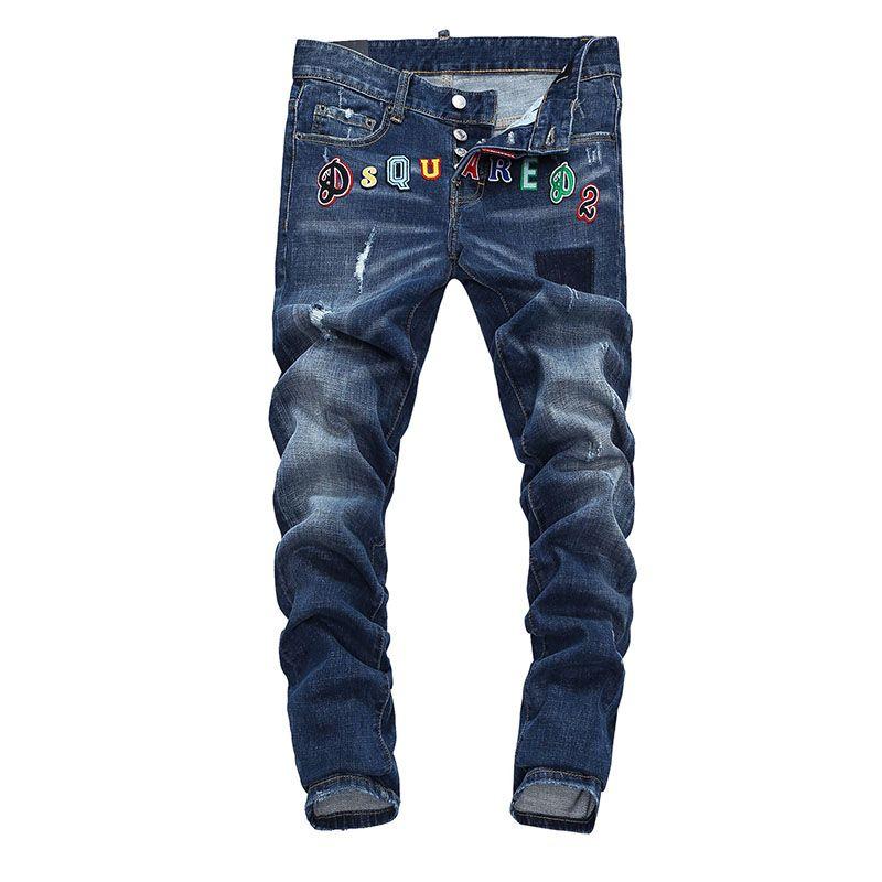 d26f4318d Dsquared2 SS2018 Mens Long Jeans Color Text Navy Blue   cheap ...