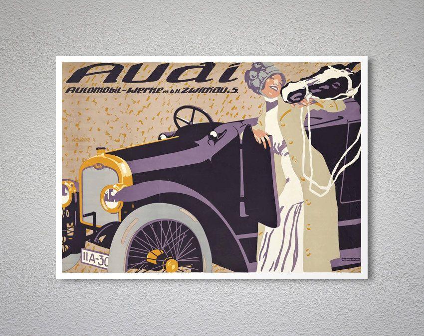 Audi Automobile Vintage Car Poster Art deco posters