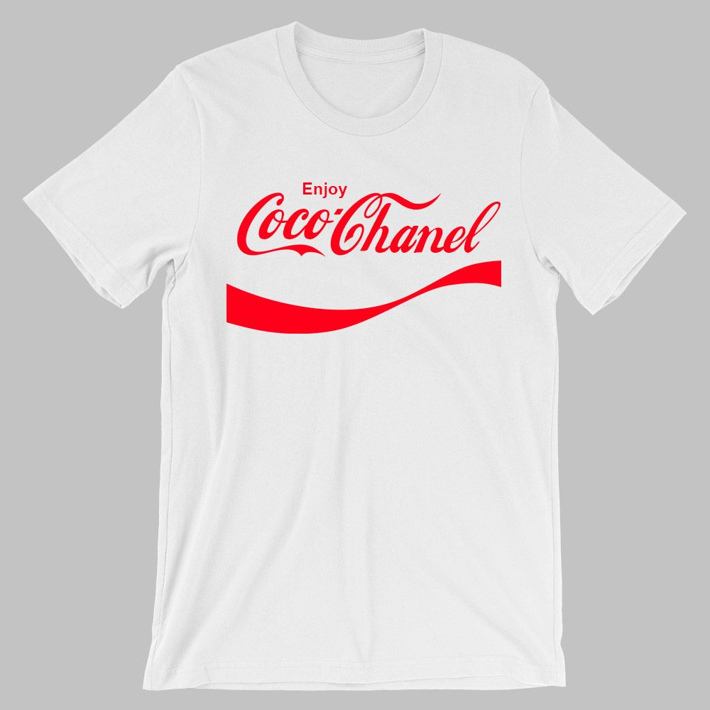 341a3fc8071 Enjoy Coco Chanel. Inspired by Coca Cola design.  fashion  cocochanel   chanel  tshirt  design  brand  couture  camiseta  marca  funny  imitation   groovy
