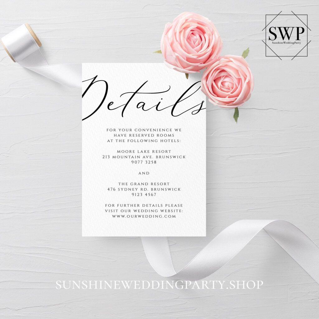 Wedding Details Card Template Fully Editable Printable Regarding Wedding Hotel Information Card In 2020 Wedding Details Card Rsvp Wedding Cards Wedding Response Cards