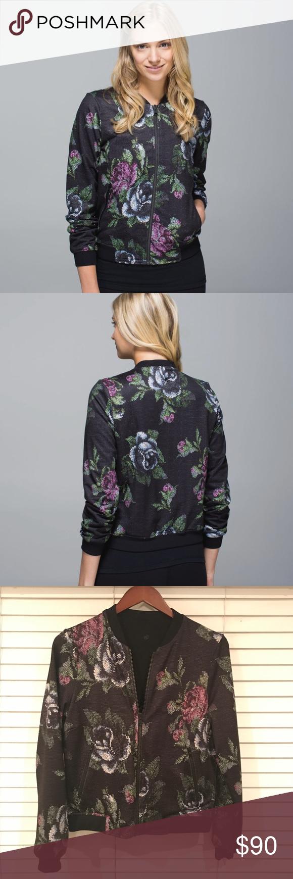 lululemon reversible bomber jacket solid black lululemon