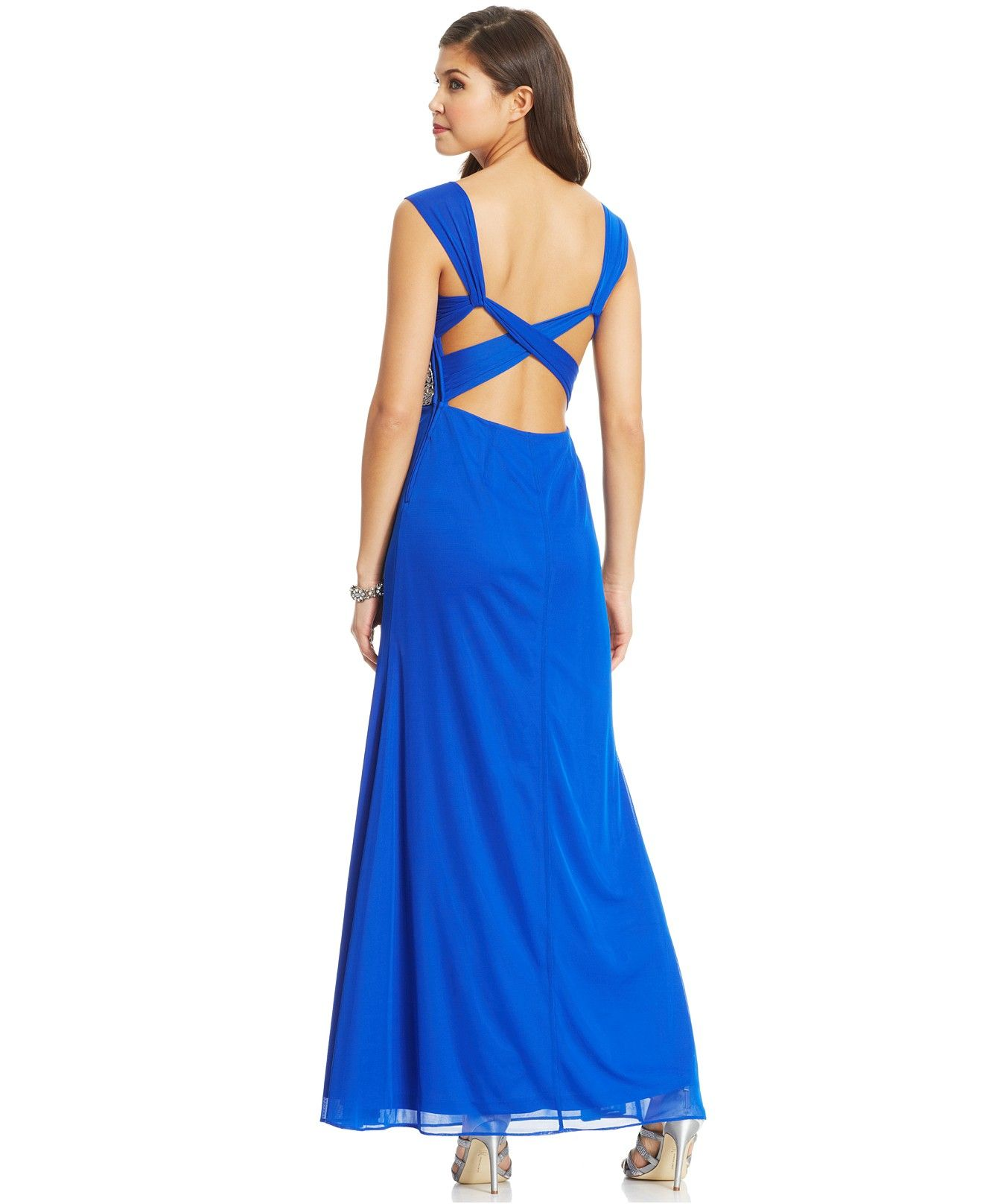Hailey logan by adrianna papell juniorsu beaded back cutout gown