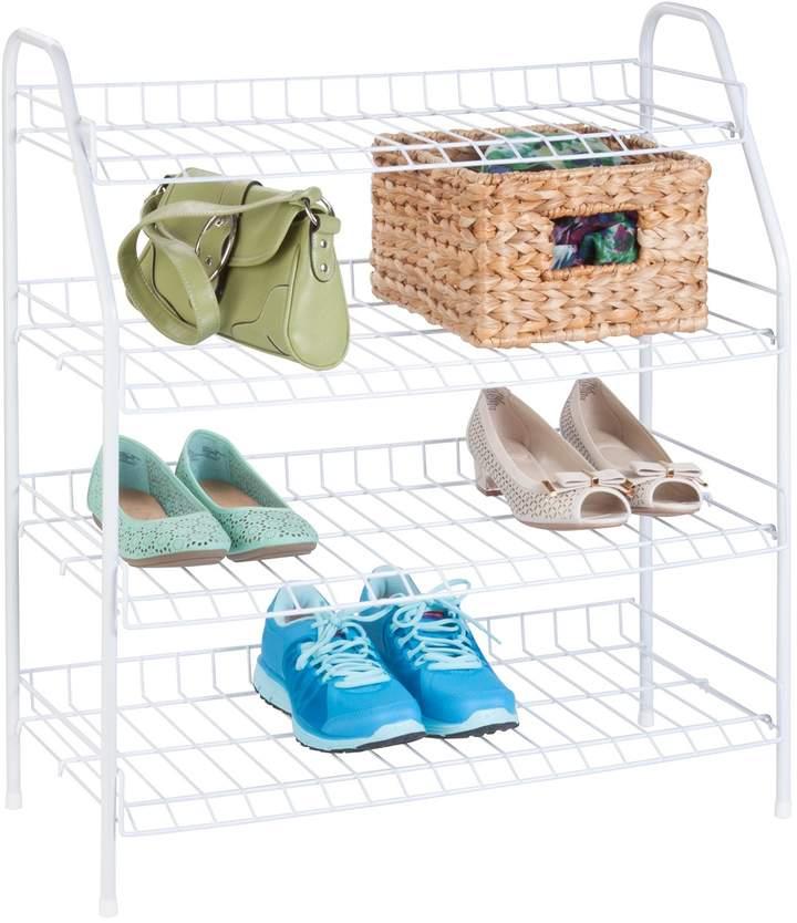 Honey Can Do White 4 Tier Shoe Shelf Shoe Storage Rack Shoe