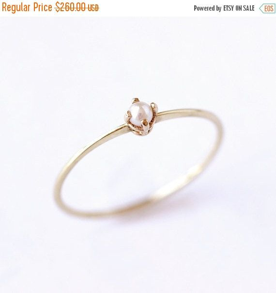 ON SALE Gold Pearl Ring  Thin Gold Ring  14 Solid Gold by artemer