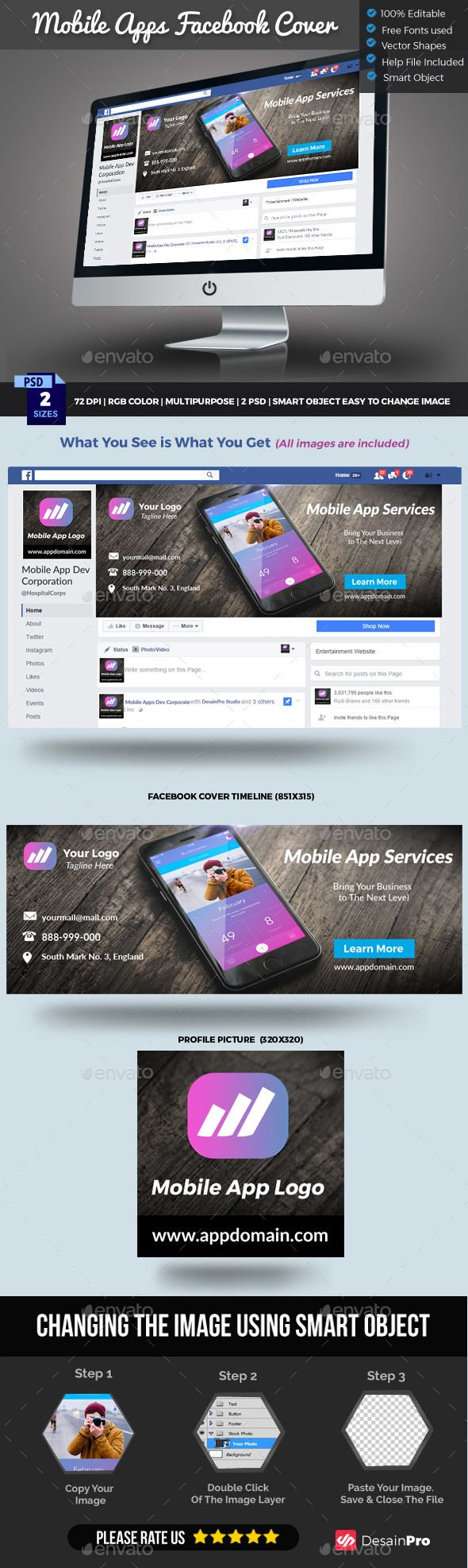 Mobile App Facebook Cover Timeline  Vector Shapes Timeline And