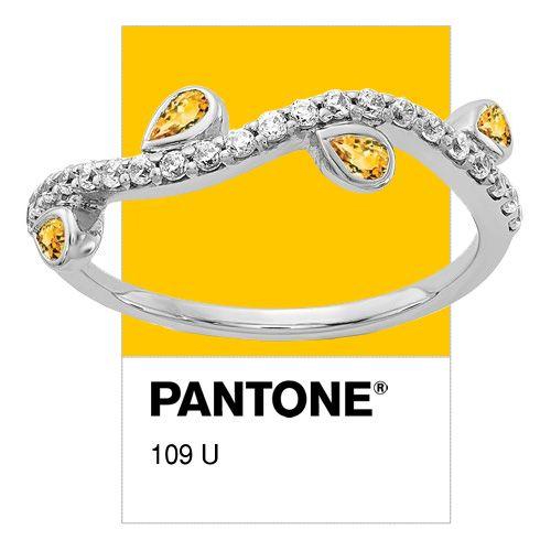 14k White Gold Citrine And Diamond Ring Pantone 109u Citrinering