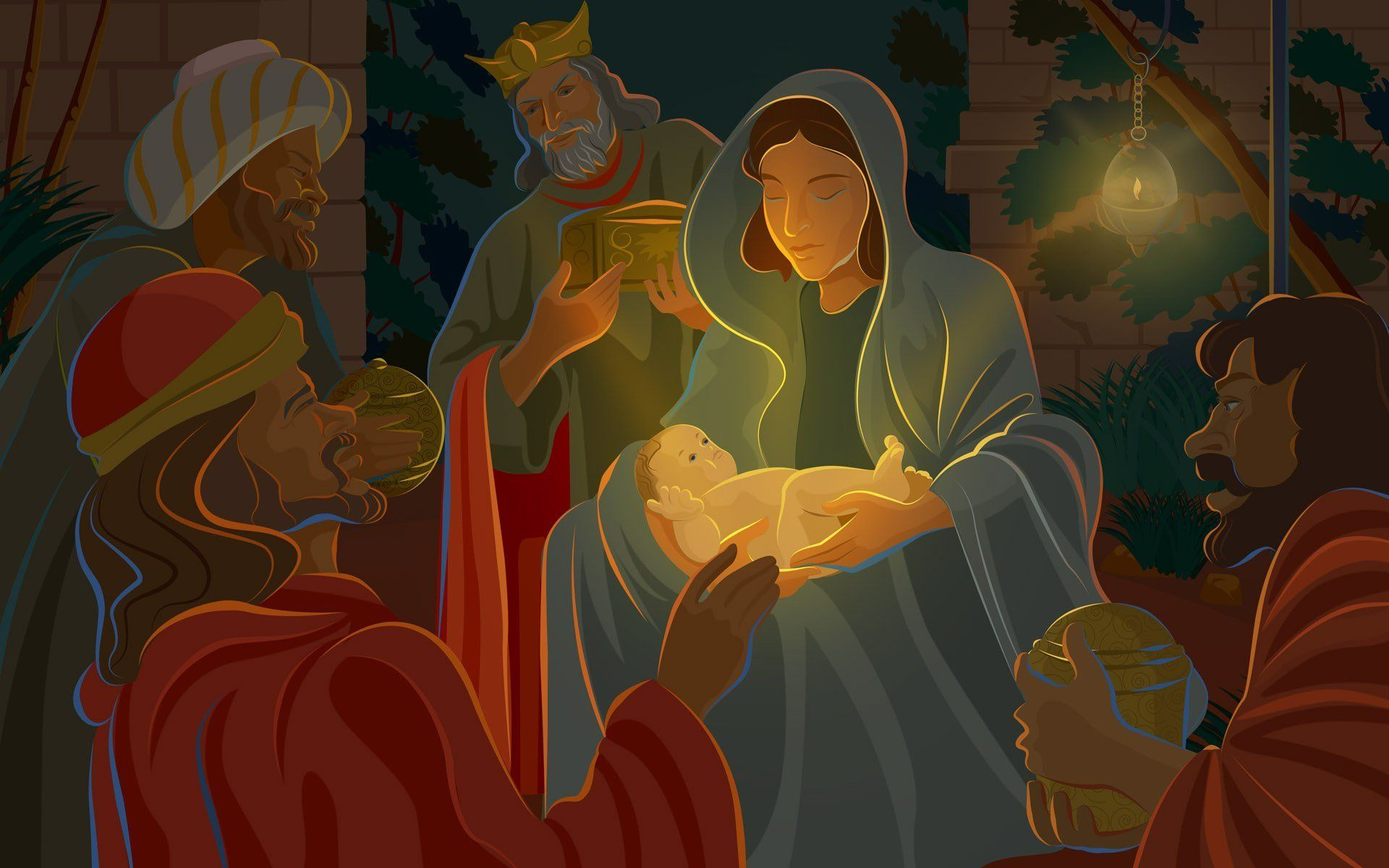 Holiday Desktop Jesus Birth Wallpaper Theme Scene Illustration Christmas Tree Virtual Nativity Jpg 1920 1200