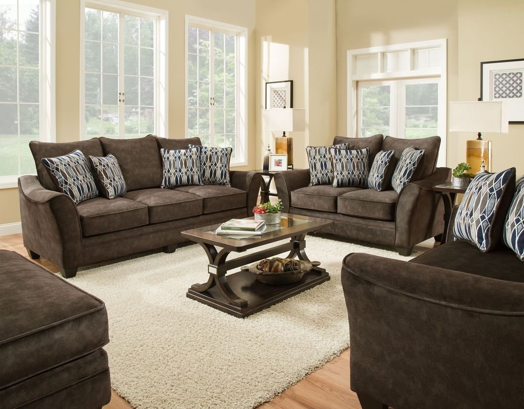 Make Your Space Inviting And Cozy With This Plush Living Room Set And Enhance The Brown Finish With Accentuating Decor Furniture Sofa Upholstery Sofa Colors #plush #living #room #furniture