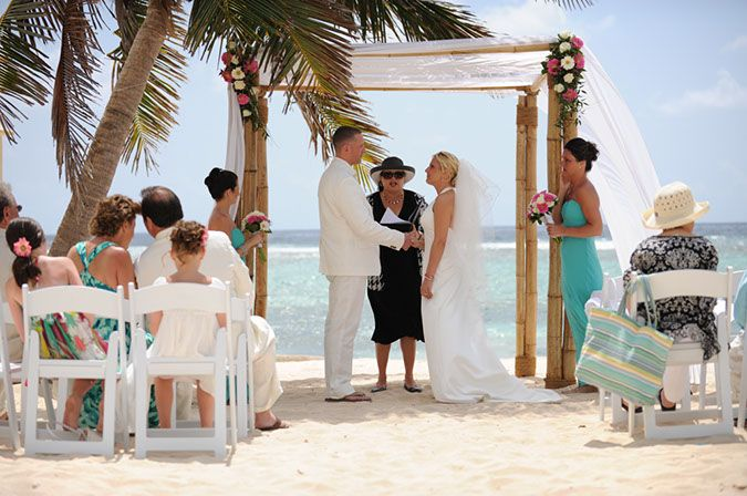 Bamboo Chuppah With Simple Flowers Wedding Ceremony Pinterest