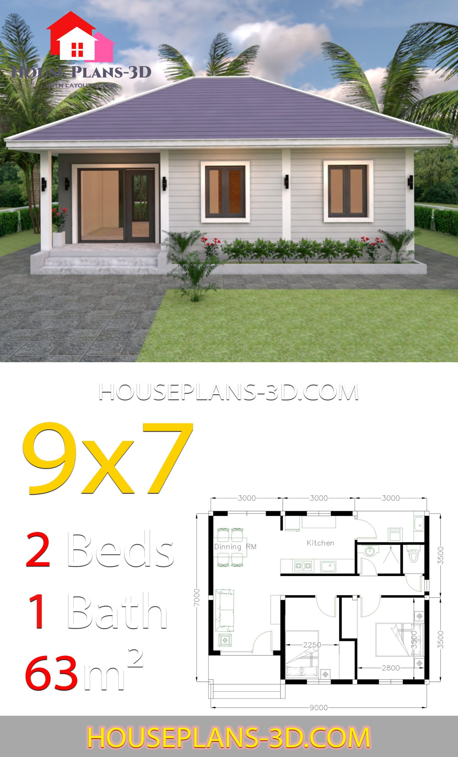 House Plans 9x7 With 2 Bedrooms Hip Roof House Plans 3d House Plans House Roof Modern Style House Plans