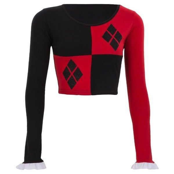 e8d8b20969e Harley Quinn Crop Top - Batman ($15) ❤ liked on Polyvore featuring tops,  white top, white crop top and crop top
