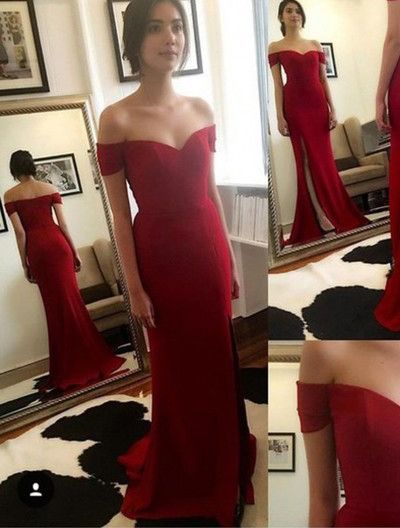 f8f90512253 Gorgeous Off-the-shoulder Mermaid with Side Slit Red Long Prom Dress ...