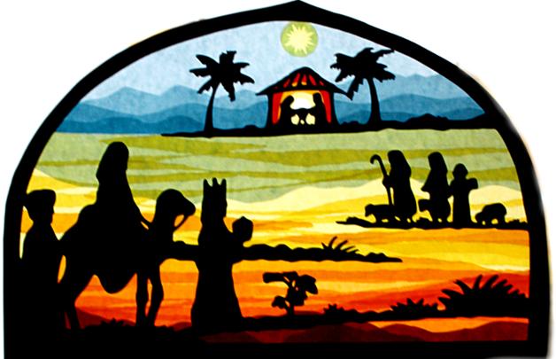 Fensterbild Weihnachten Weg Zur Krippe Transparent Weihnachtsdeko