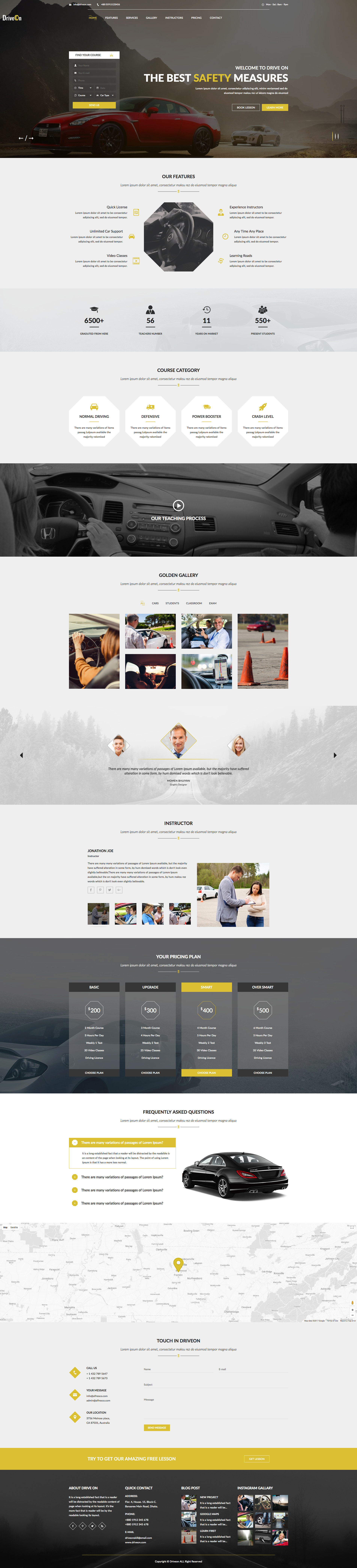 DriveOn – Driving School HTML Template. Easy and intuitive Driving ...