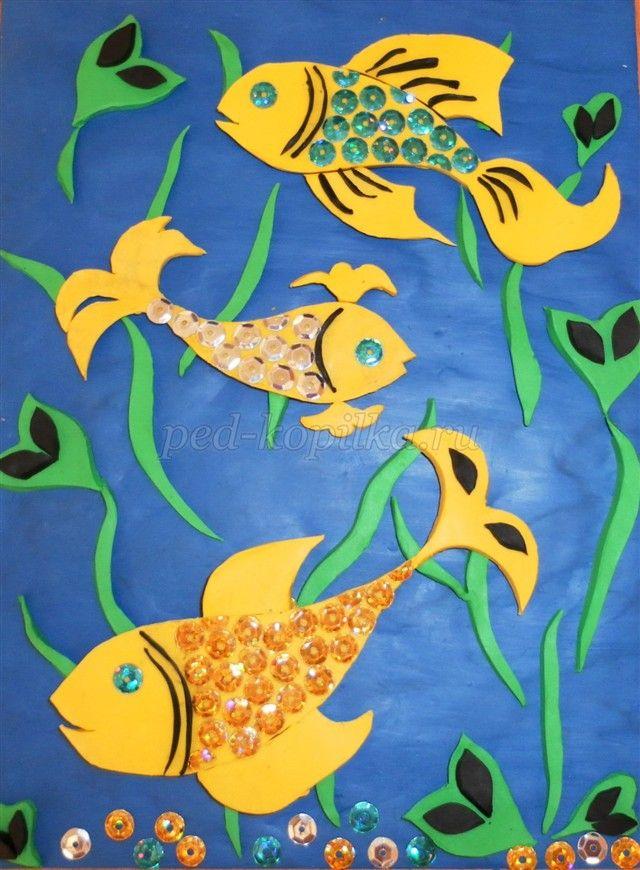 Золотые рыбки - панно из пластилина в технике многопланового рельефа 14