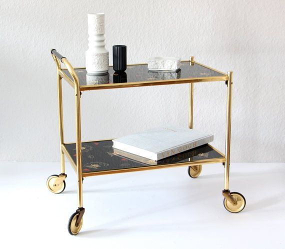 vintage tea trolley 1960s tea wagon serving cart glass brass home decor side table midcentury. Black Bedroom Furniture Sets. Home Design Ideas