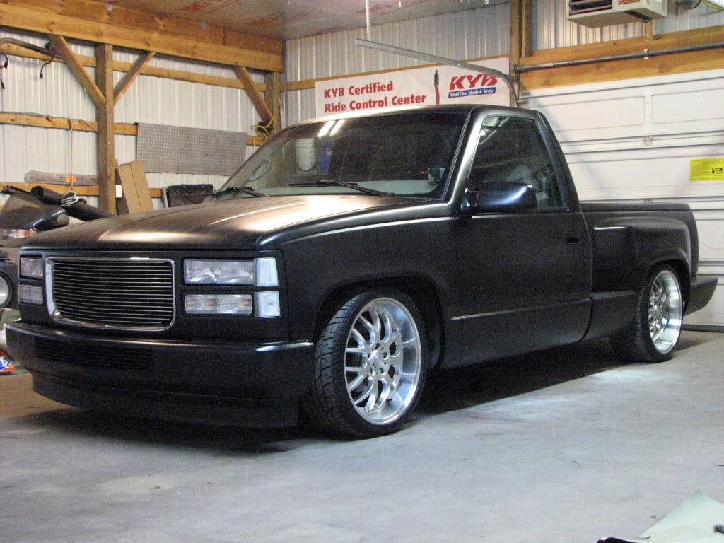 Satin black paint job truck 1991 stepside