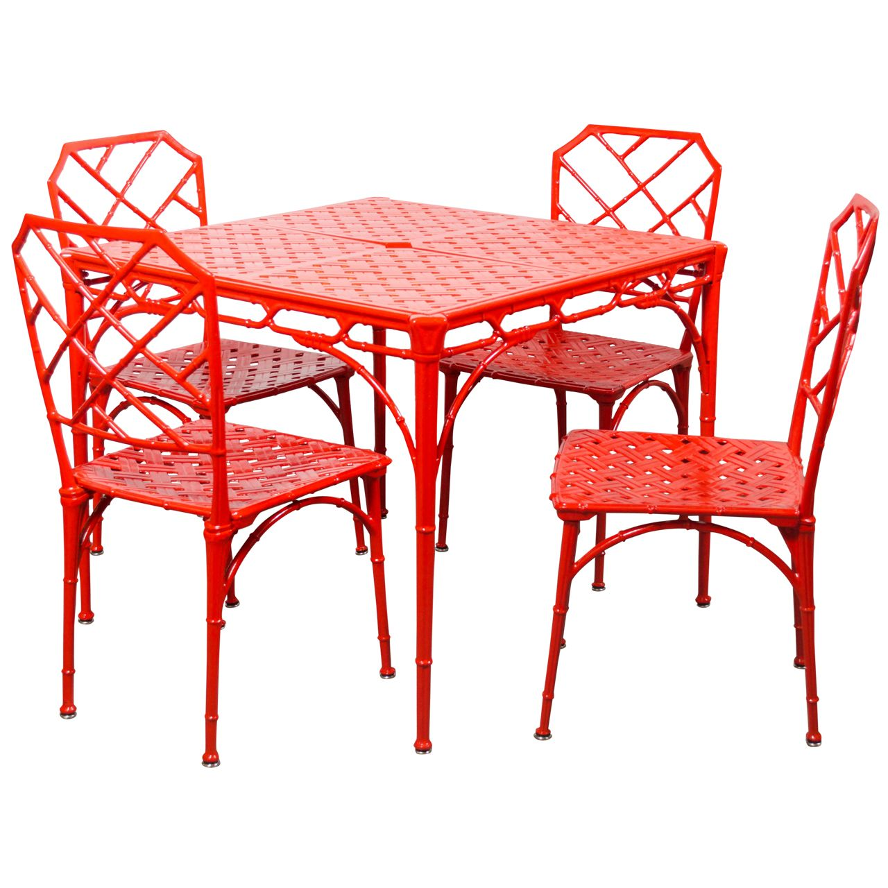 1stdibs hollywood regency style faux bamboo dining or patio set in vermillion