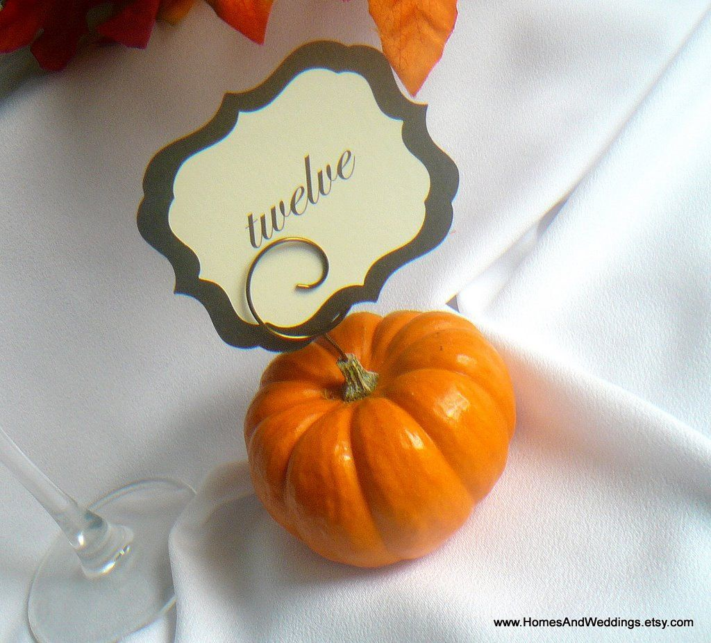 Mini Pumpkin Picks, Vintage Bronze Cardette Holders, Halloween Decor, 20. $50.00, via Etsy.