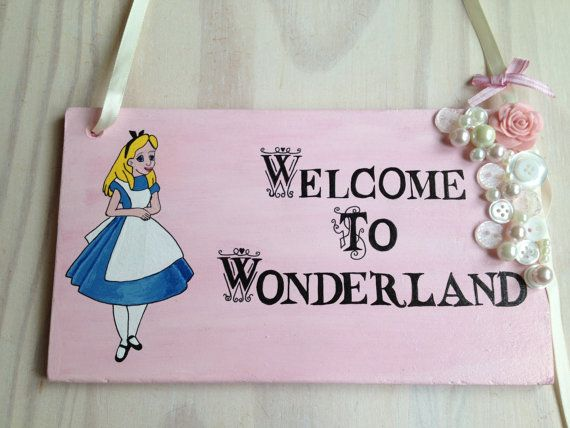 Alice In Wonderland Plaque, Disney Princess Plaque Sign, Pink, Shabby Chic, Rose, Pearls, Buttons, Baby Gift, Girls Gift, Wedding Decor on Etsy, $31.76