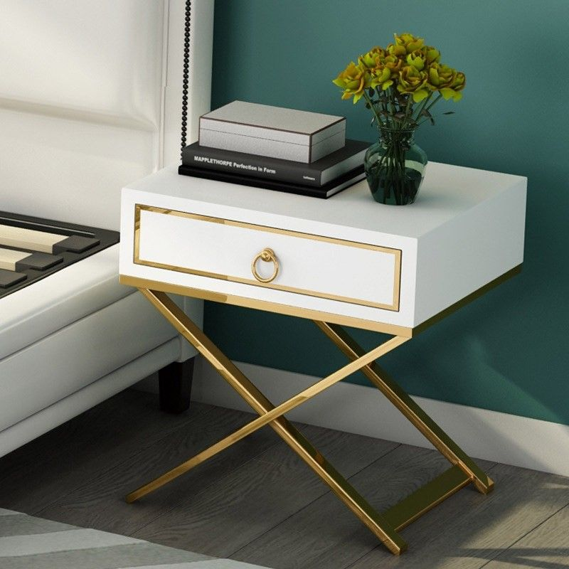 White Black Bedside Table Gold Storage Nightstand With Drawer Stainless Steel X Base In 2020 Black Bedside Table White Bedside Table White And Gold Nightstand