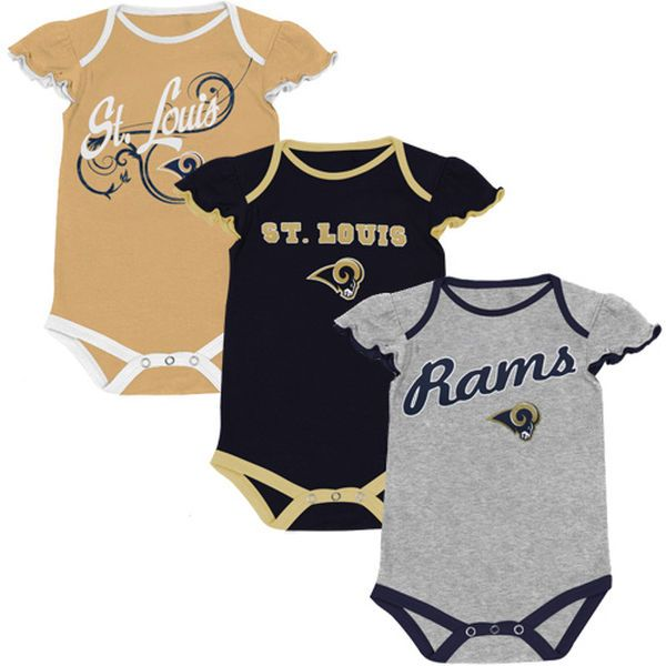 9b55e34c5 Classic St. Louis Rams Infant Girls Scalloped Sleeve 3-Pack Creeper Set -  Ash Navy Blue Old Gold