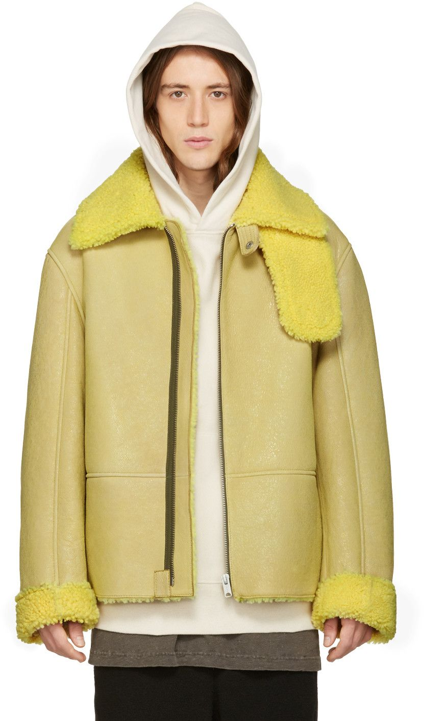 Yeezy Season 3 Yellow Shearling Flight Coat Yeezy Outfit Shearling Jacket Menswear [ 1412 x 831 Pixel ]