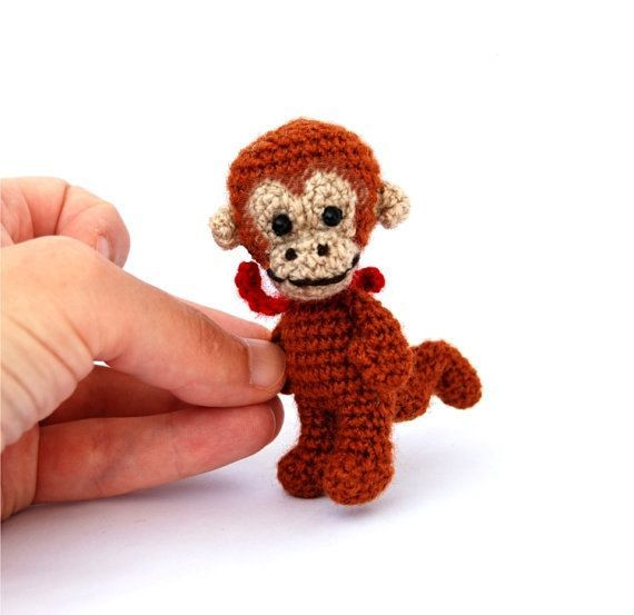 $21.56  #miniature #monkey, #tiny #crocheted #animal, #mini #monkey, #kawaii #collectible #animal, #rust #rustic, #summer #gift, #dollhouse, #crochet #art #animal