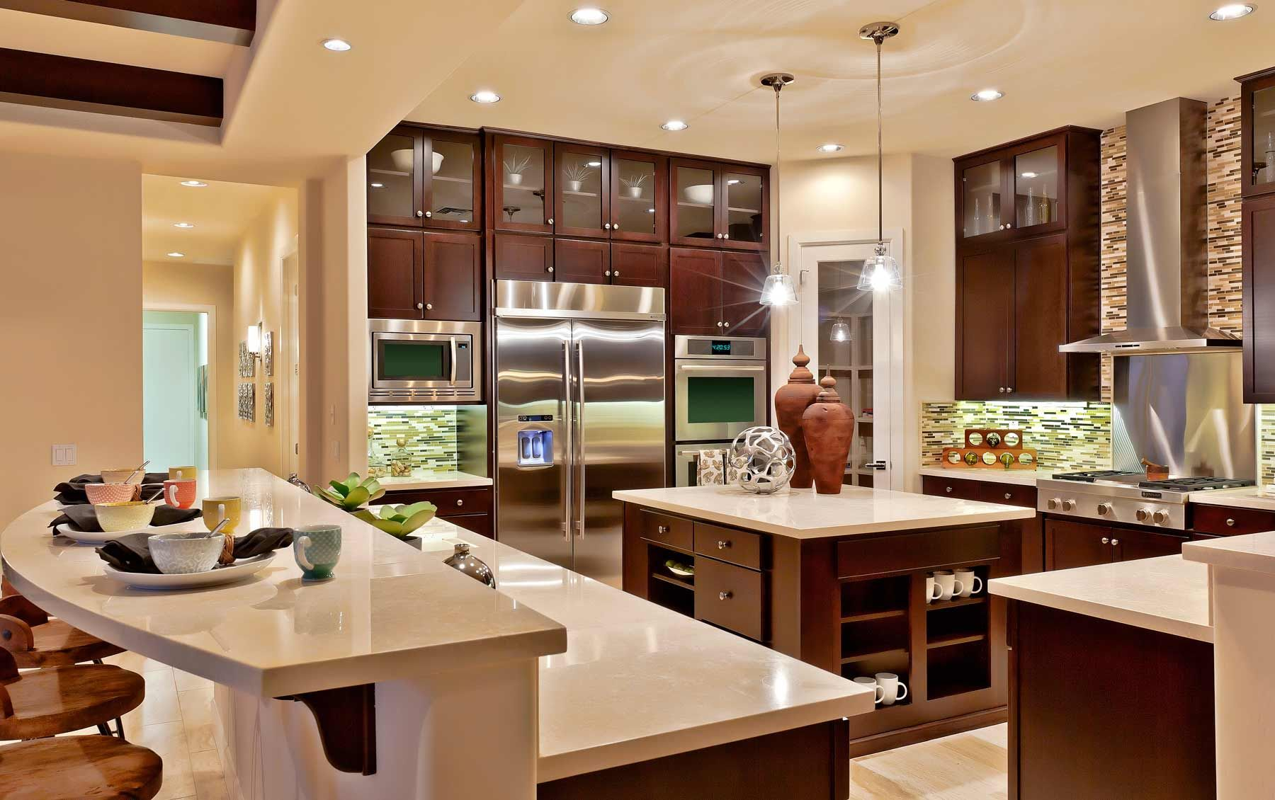 Toll Brothers Model Home Interior Design With Nice Kitchen Island And Beautiful Lighting For Attractive