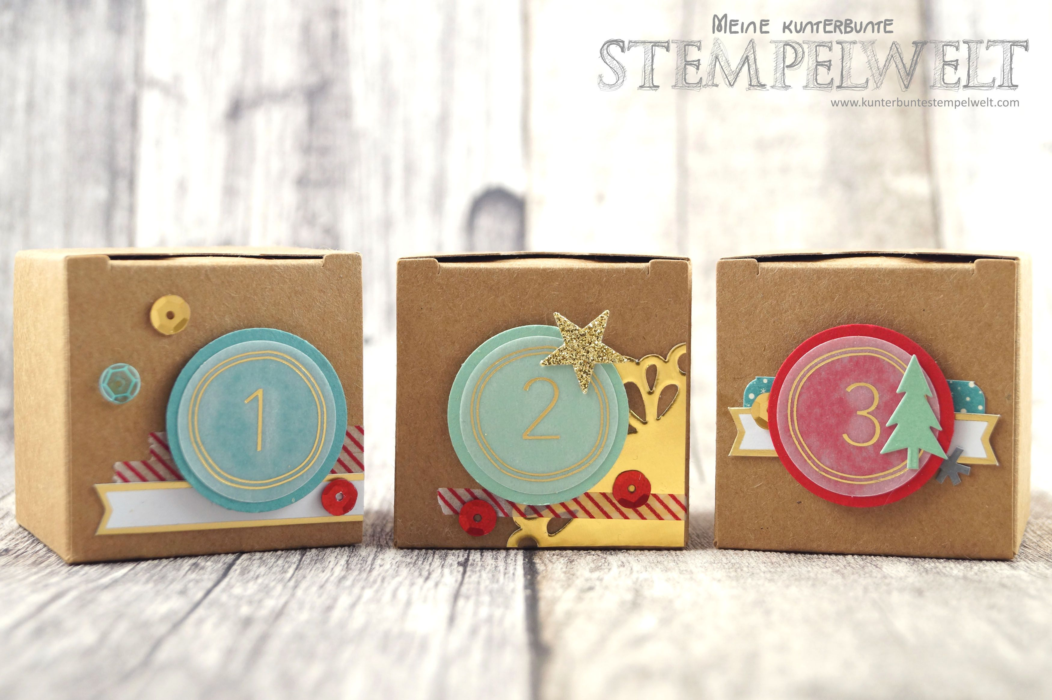 Mini Schachteln Stampin Up Adventskalender Ribba Zubehörpaket Project