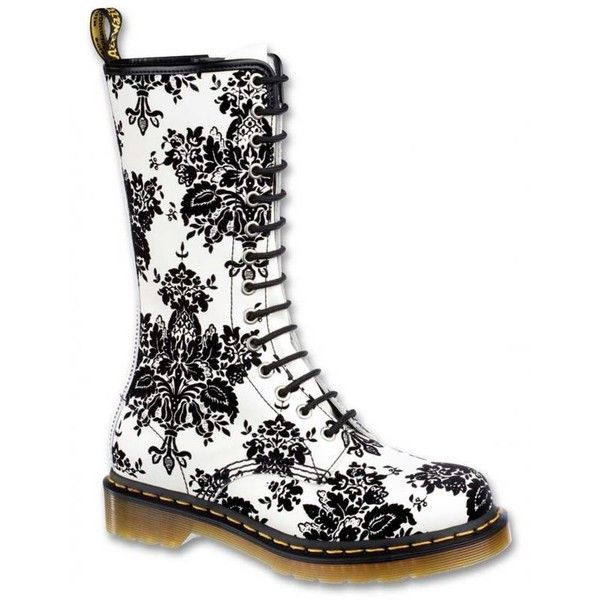 Dr Martens 14 Eye Boot 1B99 Flocking white and black #boots