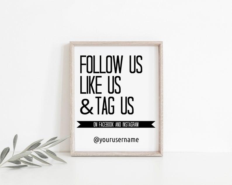 Follow Us Like Us Sign Social Media Sign Business Social Etsy Business Signs Social Media Signs Social Media