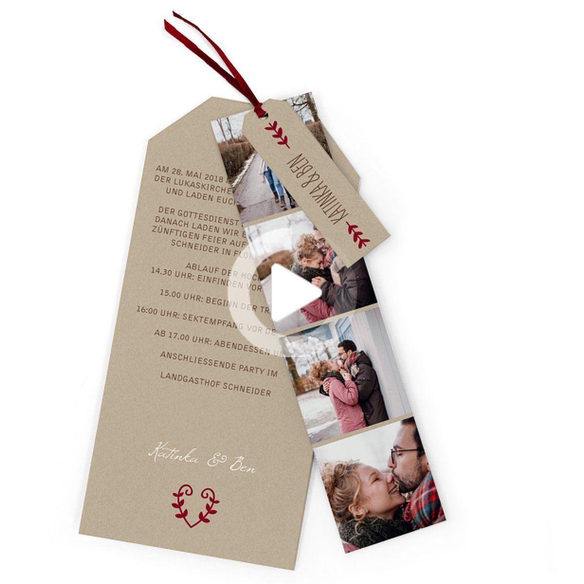 """Photo of Hochzeitseinladung """"Rustikale Liebe"""", dunkelrot, Karten mit …"""
