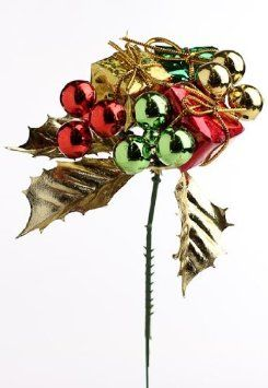 package of 12 elegant holiday metallic gift and ornament picks perfect for christmas floral