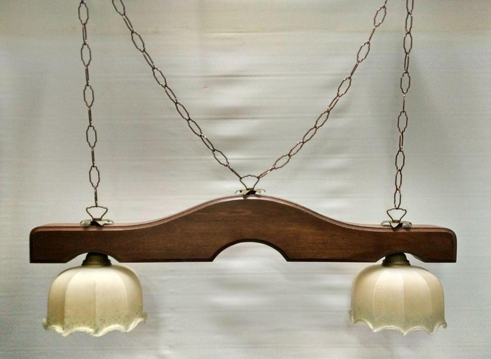 Lampadario Rustico Ceramica : Lampadario bilanciere ferro e legno rustico terracotta vetro