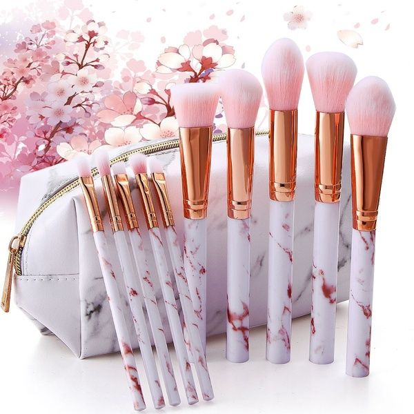 Photo of Super Cute 5/10pcs Pink Soft Marble Makeup Brushes Tools Kit Foundation Concealer Powder Eyeshadow Beauty Make Up Blending Blush For Women   Wish