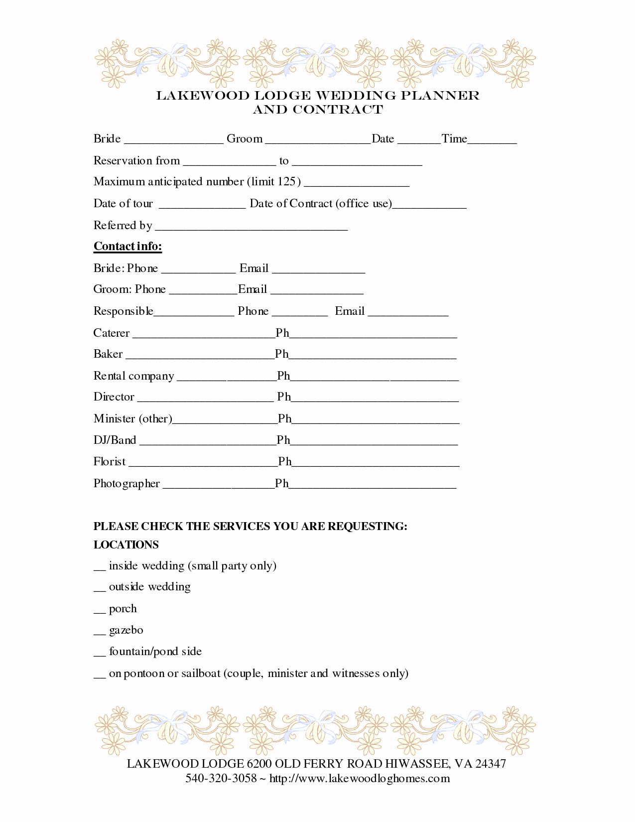 Party Planner Contract Template New Wedding Planner