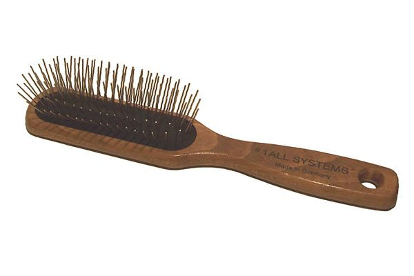 1 All Systems Oblong Pin Brush W Wooden Handle Smaller Size Brush Works Well For Denser Coats Or Smaller Dogs Wooden Handles Metal Comb Brushed Metal