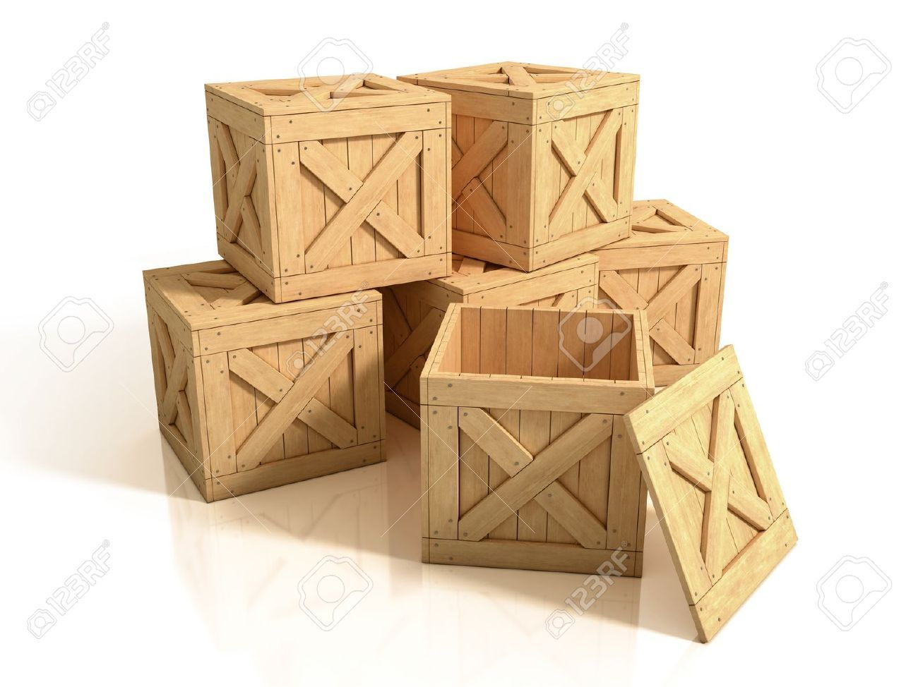 19776403 wooden crates isolated stock photo wooden cargo