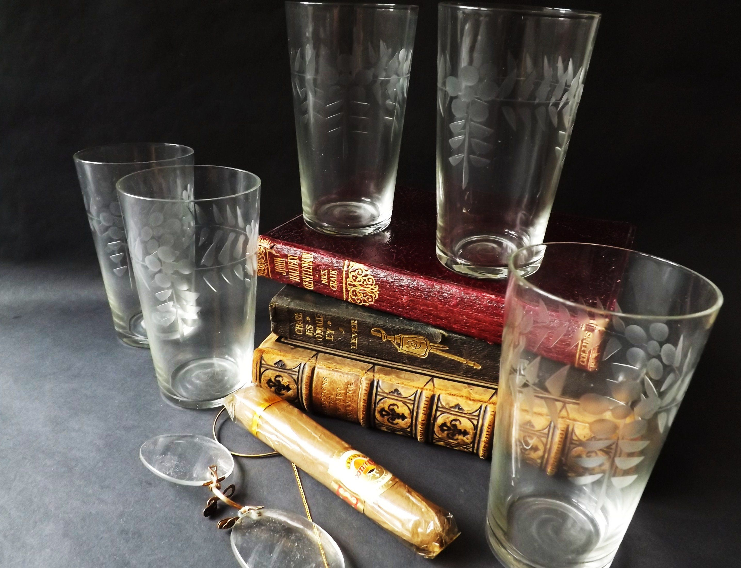 5 Antique Etched Tumblers Set Whisky Glasses Engraved Water Glass Vintage Barware Man Cave Home Bar Edwardian Whiskey Drinking Glassware Glassware Drinking Vintage Barware Whisky