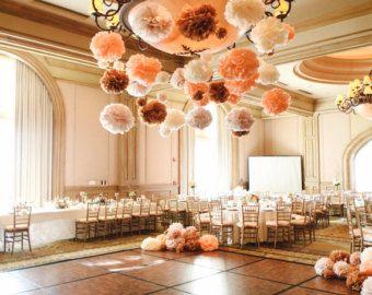 100 Wedding Pom Poms Peach And Cream Wedding Tissue Paper Pom